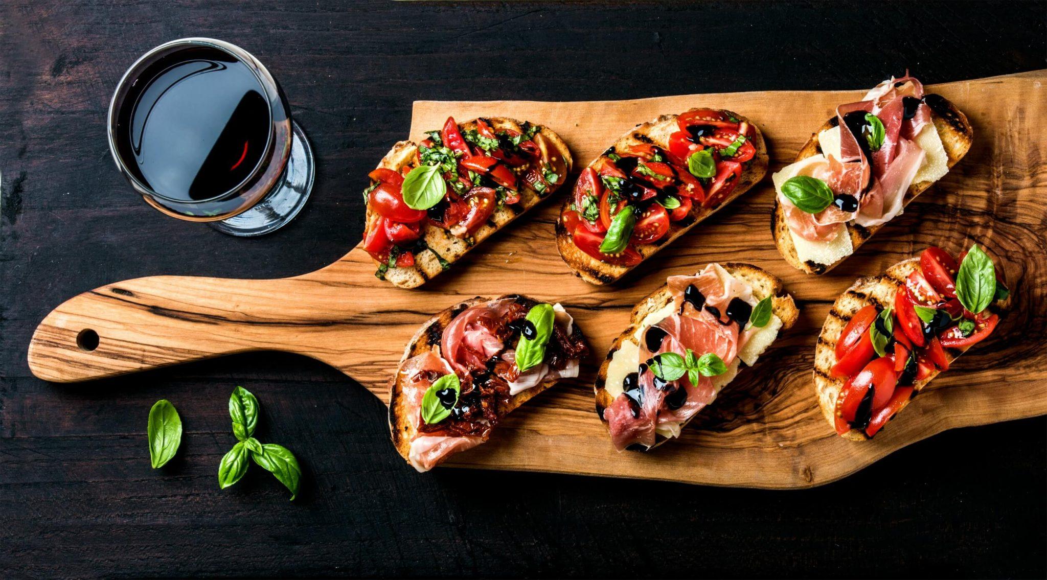 Italian wine bruscetta